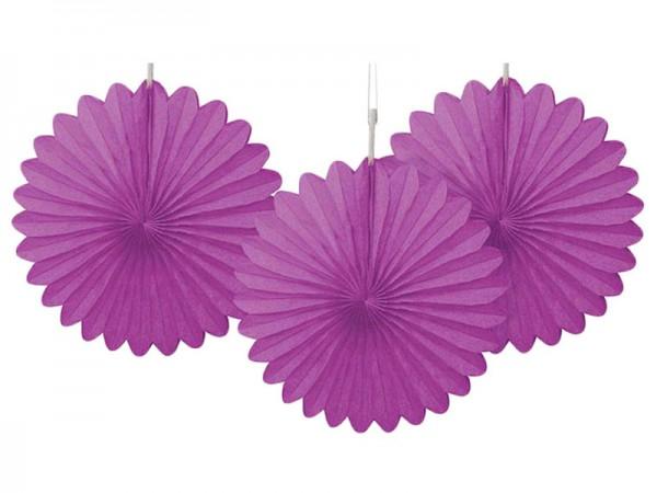 Dekofächer lila 3 Stk. Wabenfächer