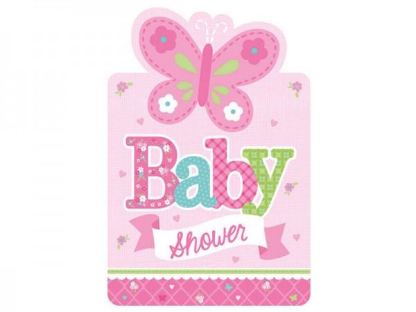 einladungskarten baby shower girl   babyparty deko