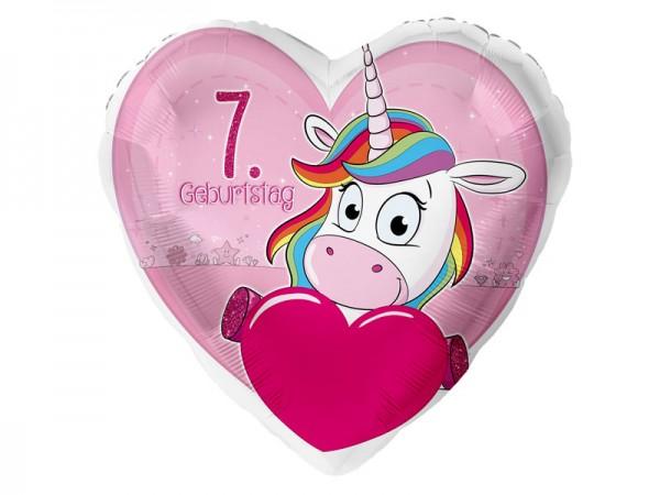 Zahlenballon Einhorn 7. Geburtstag
