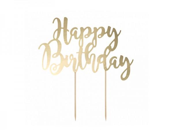Cake Topper Happy Birthday gold Tortendeko