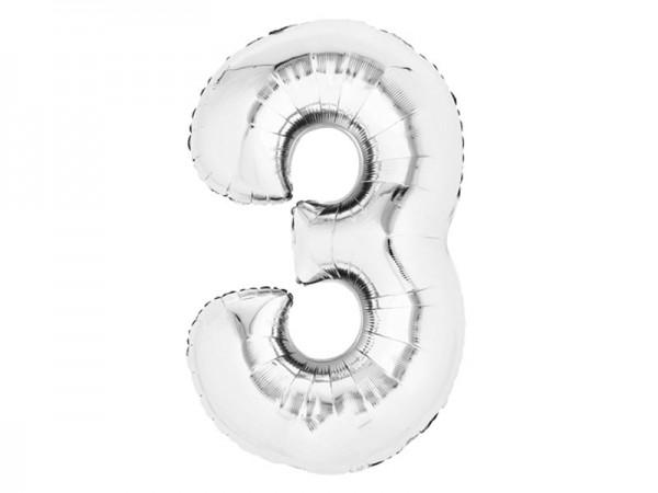 Zahlenballon Zahl 3 silber