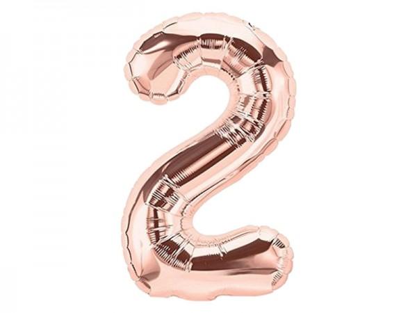 Zahlenballon Zahl 2 roségold