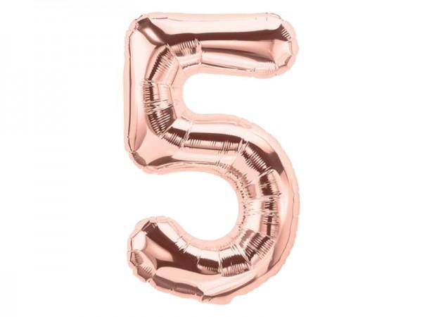Zahlenballon Zahl 5 roségold