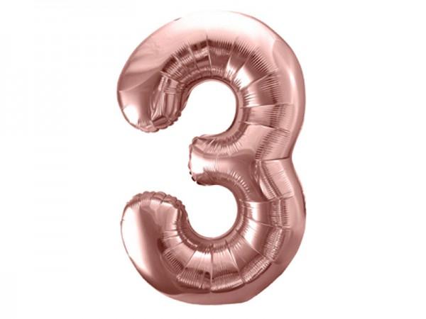 Folienballon Zahl 3 rosègold 86cm Zahlenballon