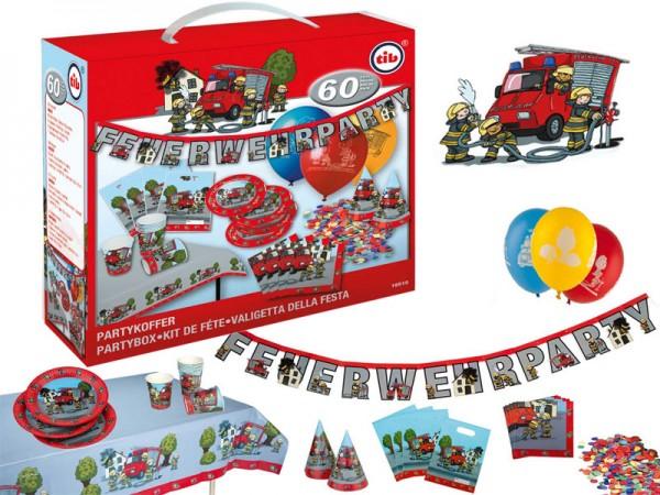 Geburtstagsdeko Set Feuerwehr Partydeko Set für Kindergeburtstag