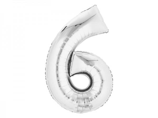 Zahlenballon Zahl 6 silber