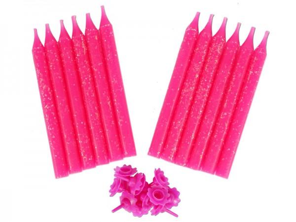 Geburtstagskerzen pink 12 Stk. Kerzen