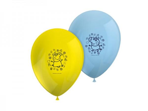 Luftballons Peppa Wutz in den Farben gelb und hellblau