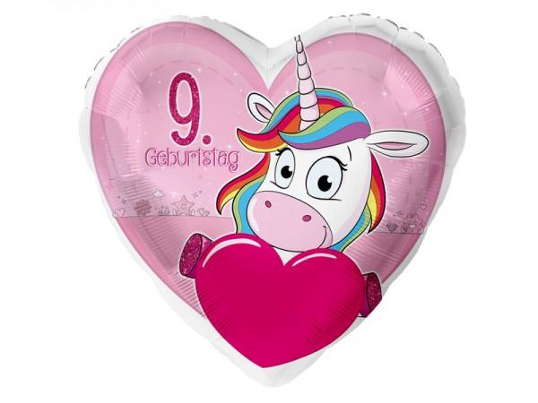 Zahlenballon Einhorn 9. Geburtstag
