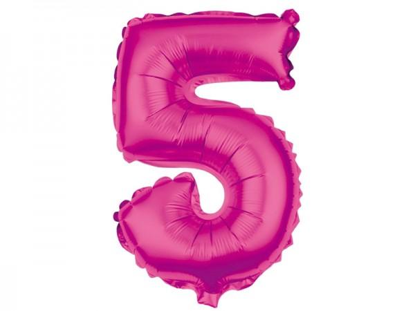 Folienballon Zahl 5 pink 80cm