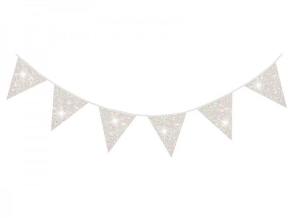 Wimpelkette glitzernd weiß