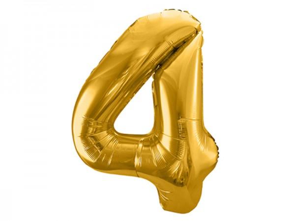 Folienballon Zahl 4 gold 86cm Zahlenballon
