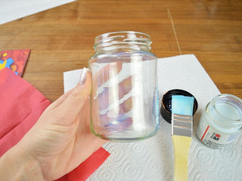 Bastelanleitung Windlicht - Glas einpinseln