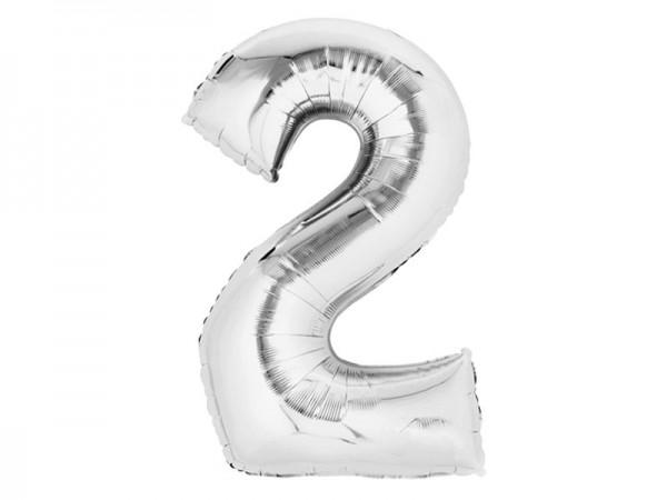 Zahlenballon Zahl 2 silber