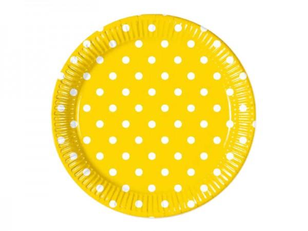 Pappteller gelb mit weißen Punkten
