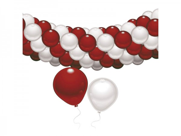 Luftballongirlande rot-weiß 4m