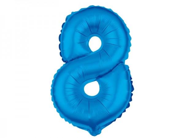 Zahlenballon Zahl 8 blau 80cm