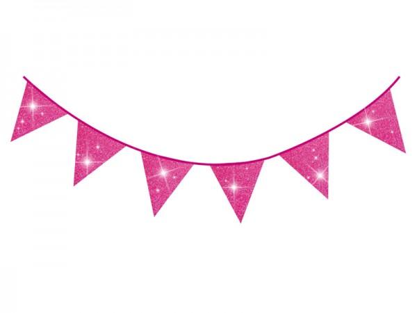 Wimpelkette glitzernd pink