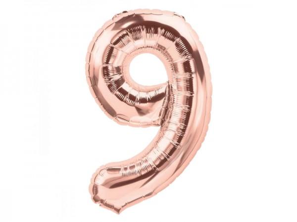 Zahlenballon Zahl 9 roségold