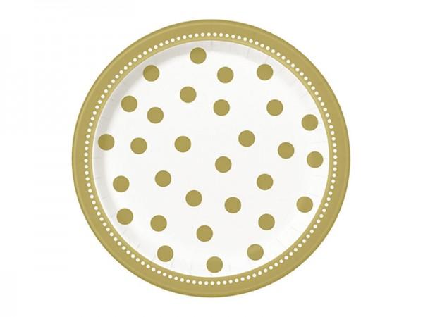 Pappteller gold gepunktet Partyteller