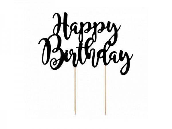 Cake Topper Happy Birthday schwarz Tortendeko