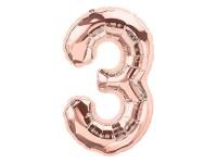Zahlenballon Zahl 3 roségold