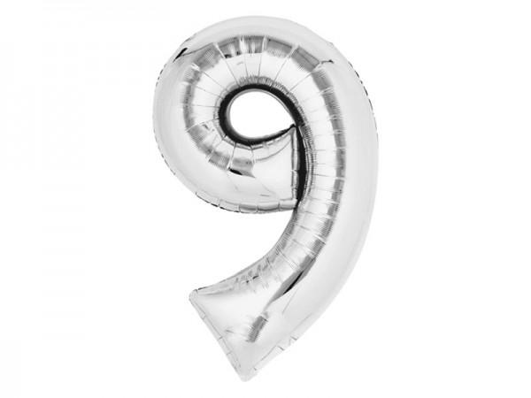 Zahlenballon Zahl 9 silber