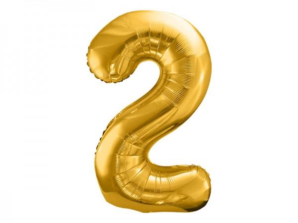 Folienballon Zahl 2 gold 86cm Zahlenballon