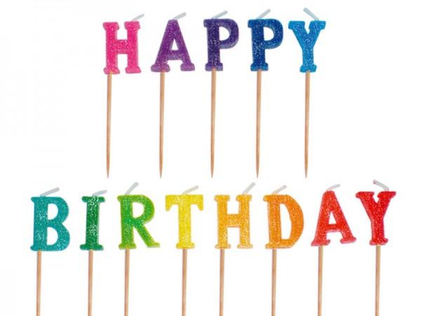 Geburtstagskerzen Happy Birthday Kerzen glitzernd