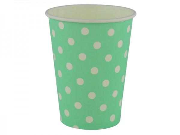 Partybecher grün mit weißen Punkten Pappbecher