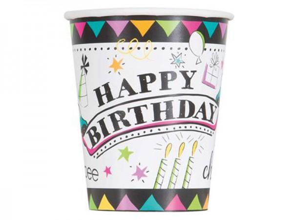 Partybecher Happy Birthday Pappbecher