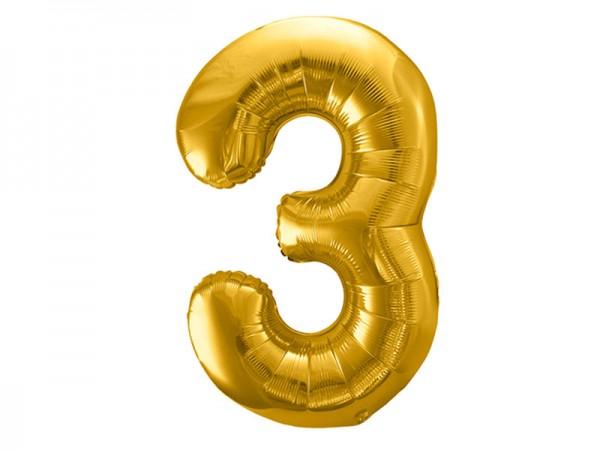 Folienballon Zahl 3 gold 86cm Zahlenballon