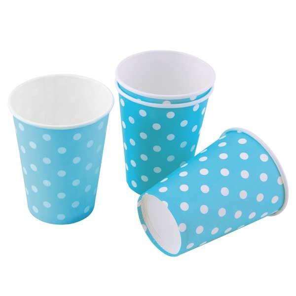 Partybecher blau mit weißen Punkten