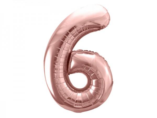 Folienballon Zahl 6 rosègold 86cm Zahlenballon