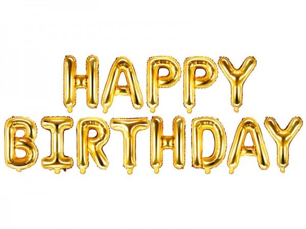 Happy Birthday Schriftzug aus goldenen Folienballons