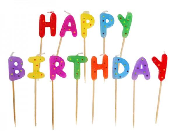 Geburtstagskerzen Happy Birthday Kerzen gepunktet