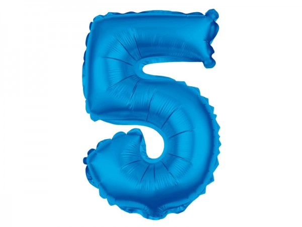 Zahlenballon Zahl 5 blau 80cm