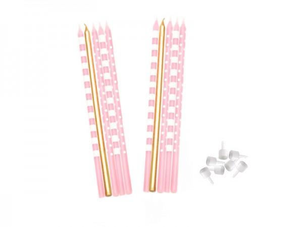 Kerzen rosa-weiß-gold Geburtstagskerzen