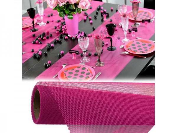 Tischläufer Netzoptik pink Tischdecke