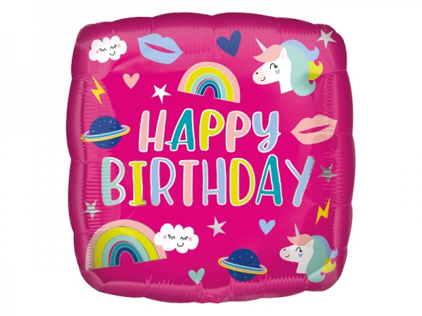 Pinker Folienballon mit süßen Einhorn Motiven
