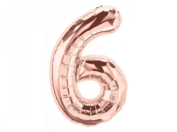 Zahlenballon Zahl 6 roségold
