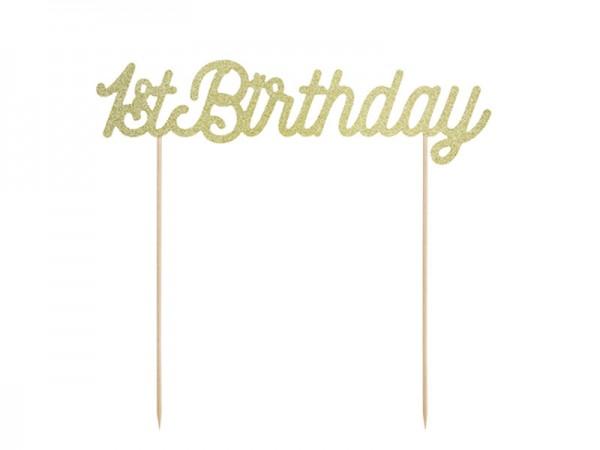 Cake Topper 1st Birthday Tortendeko gold