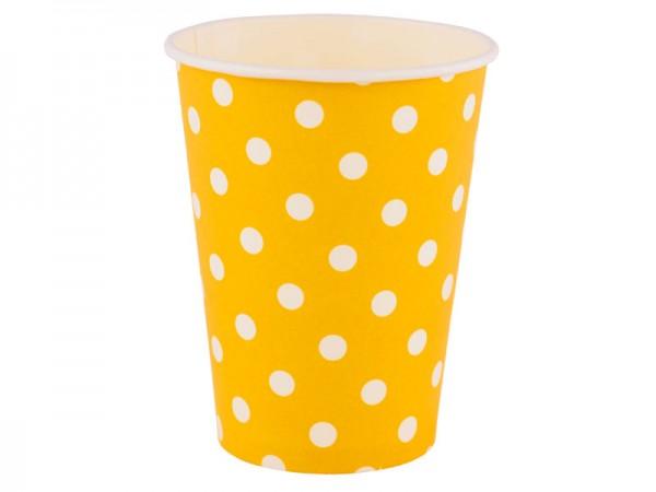Partybecher gelb mit weißen Punkten Pappbecher