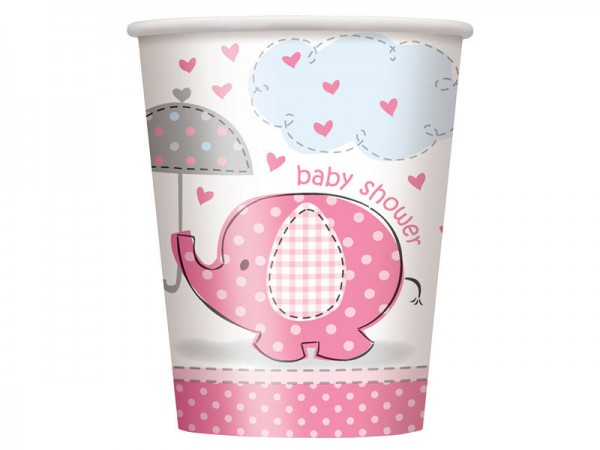 Partybecher Babyparty Elefant rosa Pappbecher