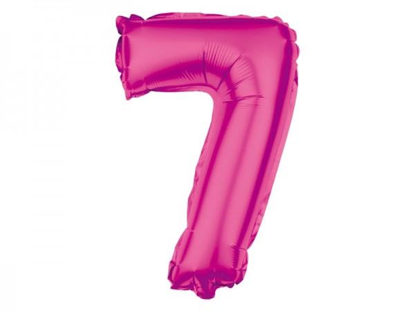 Zahlenballon Zahl 7 pink 80cm