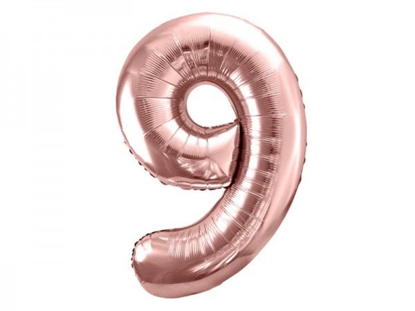 Folienballon Zahl 9 rosègold 86cm Zahlenballon