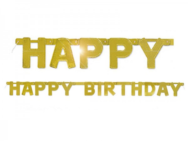 Buchstabenkette Happy Birthday gold