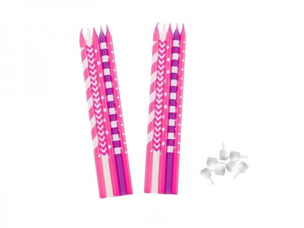 Kerzen pink lila Geburtstagskerzen