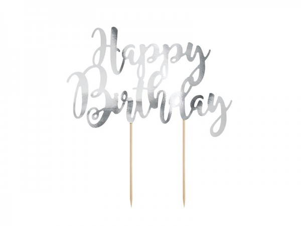 Cake Topper Happy Birthday silber Tortendeko