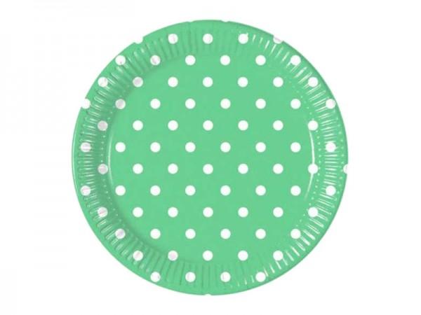 Pappteller grün mit weißen Punkten
